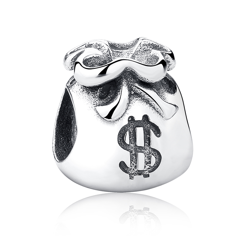 New Year Gift 925 Sterling Silver Small Beautiful Money Bags Charms Fit BISAER Bracelet & Necklace Jewelry Accessories WEUS198