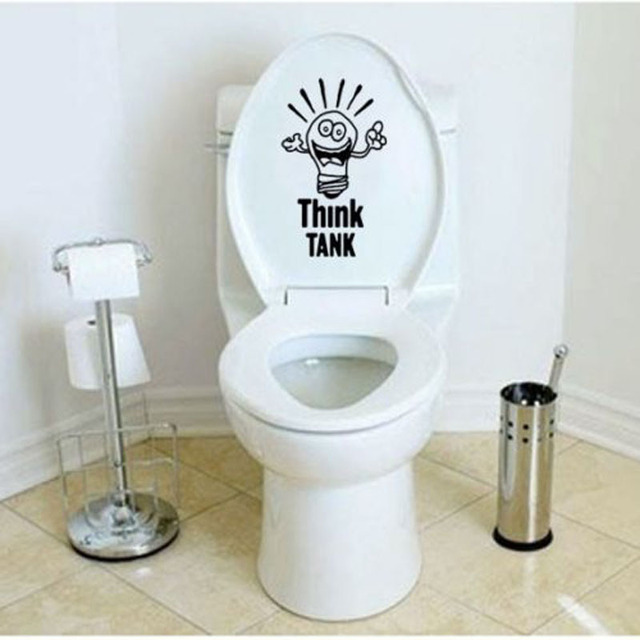 THINK TANK Creative Funny Toilet Stickers Bathroom Wall Decals Home Decor  Black 4WS 0021