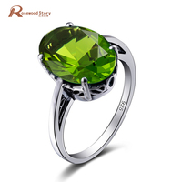 Classic Oval Oilvine Created Peridot Ring Solid 925 Sterling Silver Jewelry 2017 New Bijoux Genuine Fine