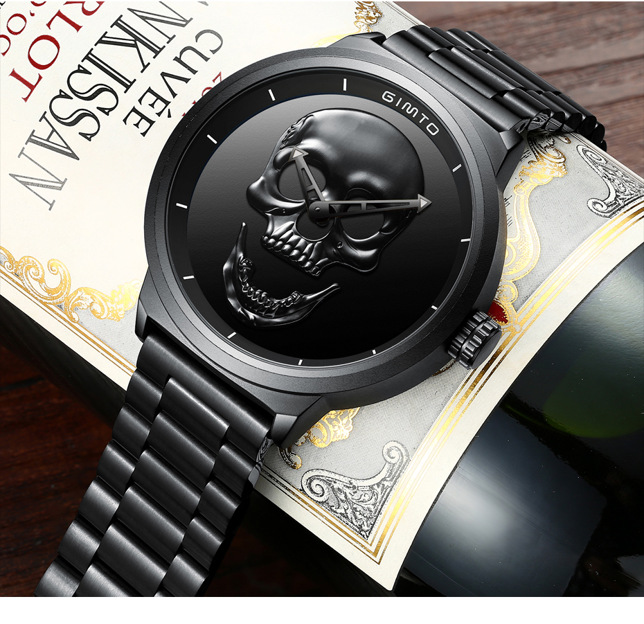 2018 Cool Punk 3D Skull Men Watch Brand GIMTO Luxury Steel Gold Black Vintage Quartz Male Watches sport clock Relogio Masculino 21