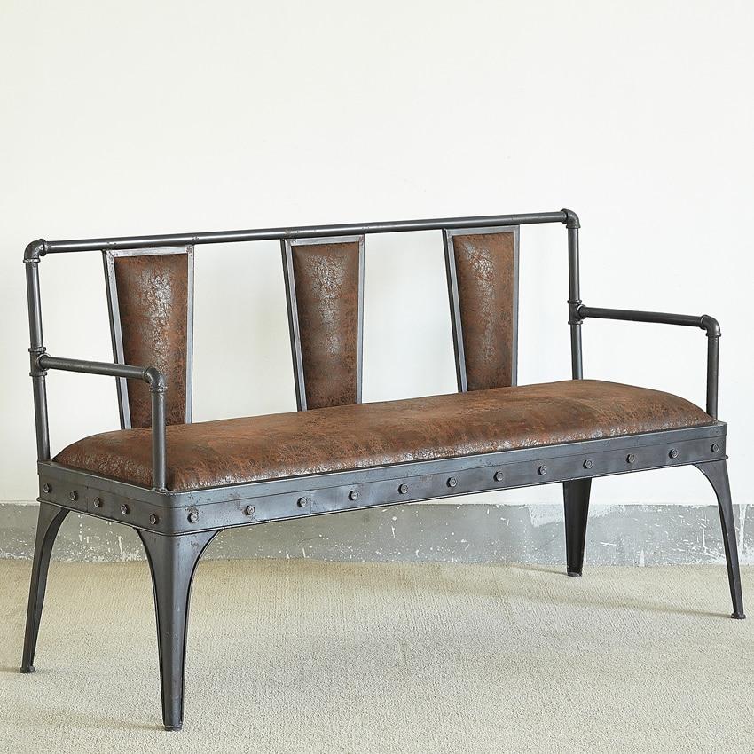 Nuovo antico in ferro battuto velluto divano in pelle divano sedie ferro legno tavolino loft - Divano ferro battuto antico ...