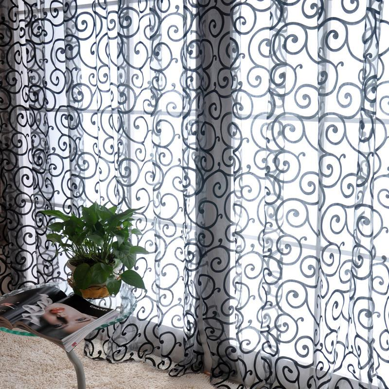 Window Curtains 1M*2M Sheer Voile Tulle For Bedroom Living Room Balcony Kitchen Printed Tulip Pattern Sun-shading Curtain