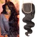 Peruvian Virgin Hair 4*4 body wave Lace Closure Bleached Knots 100 percent Human hair Closure tissage bresilienne avec clsure