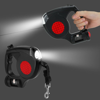 3 In 1 Retractable Dog Leash With LED Flashlight Waste Bags Garbage Dispenser For Small Medium