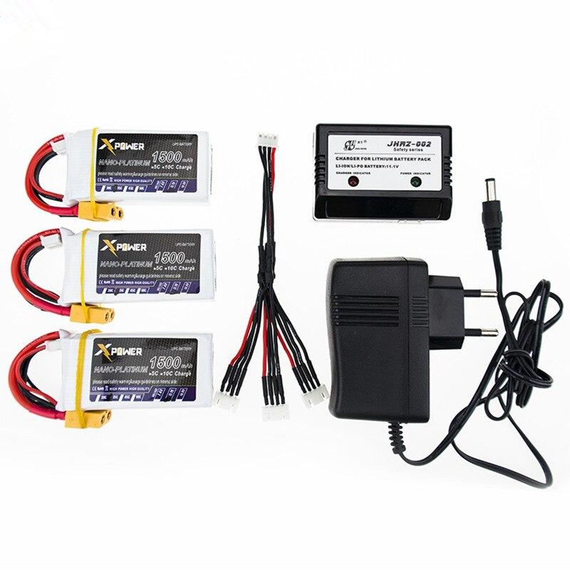 LiPo batterie 11.1 V 1500 Mah 3 S 40C MAX 60C XT60 connecteur avec chargeur 3in1 câble pour RC voiture avion WLtoys V950 hélicoptère