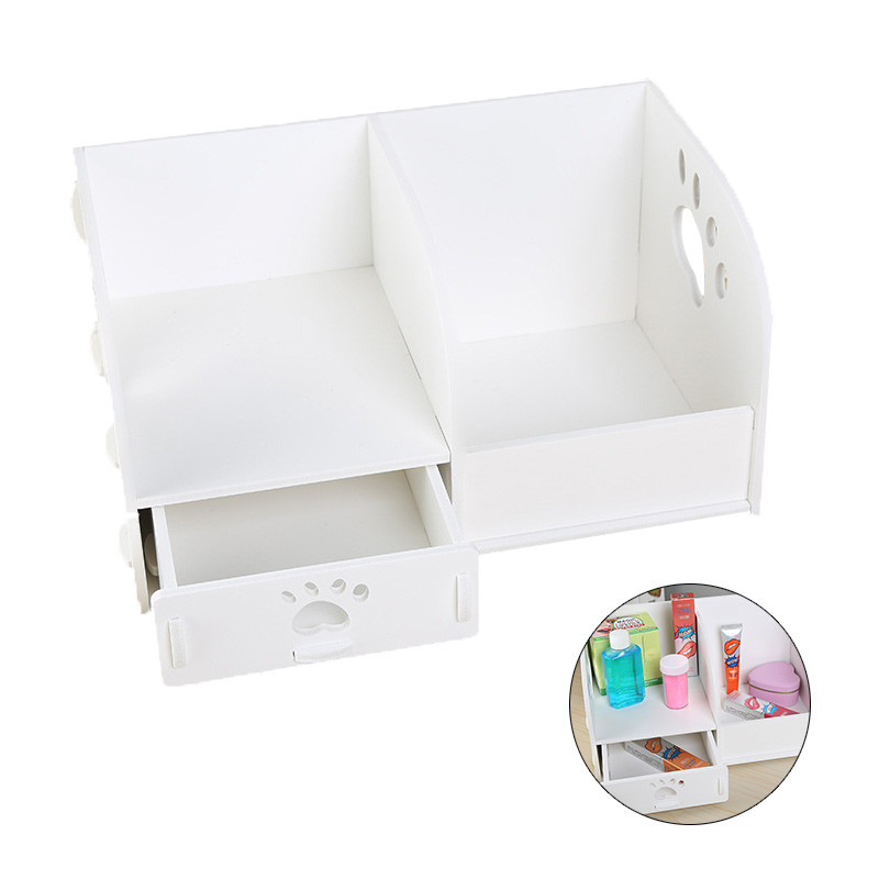Household Decor Wooden Table Storage Box Jewellery Drawer CosmeticStorage Box Office Stationery Book Magazine Storage Racks