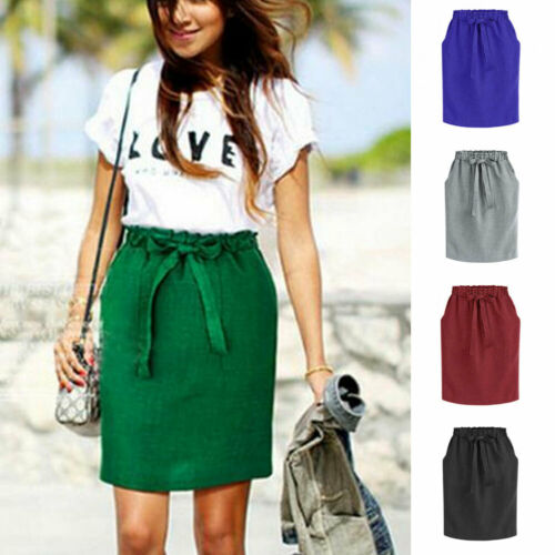 2019 Fashion Hot Sale Women's High-waist Bandage Solid Slim Pockets Skirts Office Lady Summer Casual Pencil Slim Skirt S-XXL