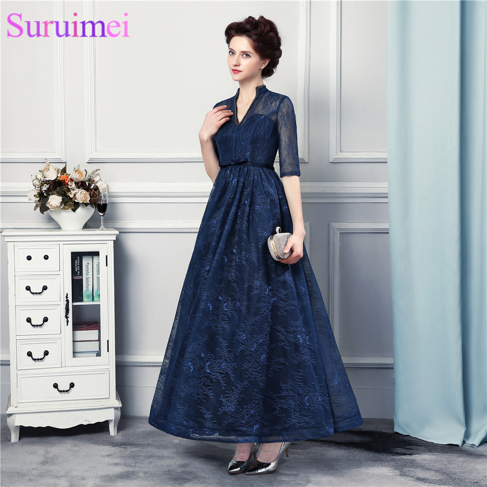 New Arrival Tea Length Prom Dresses Lace With Jacket Backless Navy ...