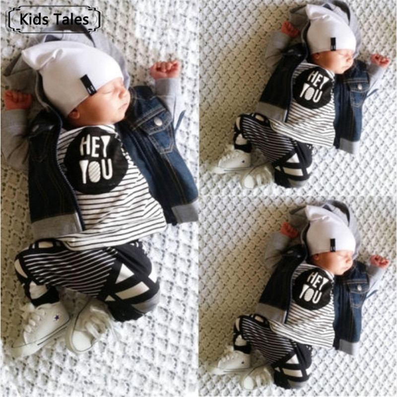 2019 New Fashion baby boy girl clothing set cotton letter long-sleeved T-shirt + Striped Pants Baby Clothing Set SY106