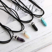 Bohemian Boho Chocker Leather Necklace With Natural Crystal Stone Pendant