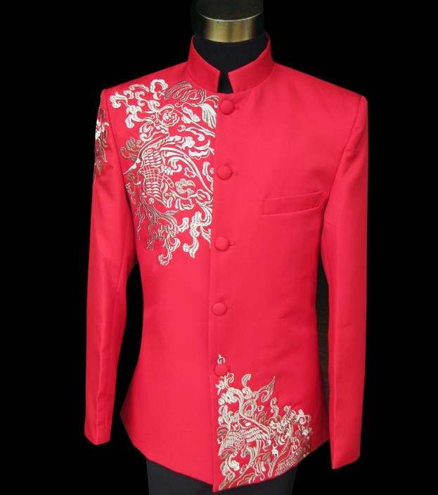 Chinese Style Formal Dress Latest Coat Pant Designs Chinese Tunic Suit Men Embroidery Marriage Wedding Suits For Men's Red