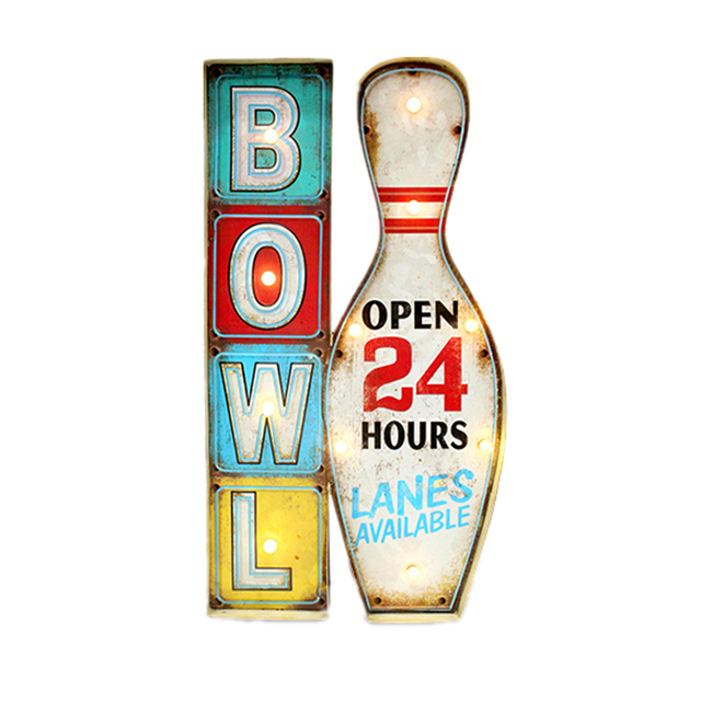 Retro Bowl Vintage Neon Signs Open Close 24 Hours Outdoor Wall ...