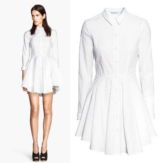 c35160574773 New Arrival Summer Women Brand Fashion Work Wear Office Casual Tunic White  Lapel Long Sleeve Pleated Shirt Dress 6602