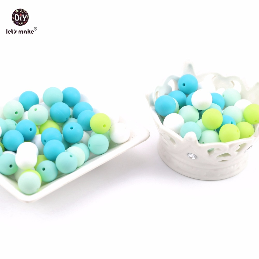 Let's Make 15mm 10pcs Mint Aqua Green BPA Free Silicone Food Grade Teethers DIY Baby Toys Handmade Nursing Necklace Baby Teether