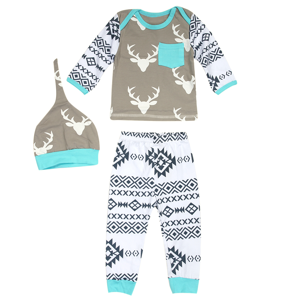 3pcs Newborn Infant Kids Baby Boy Girl Clothing Fashion Tops+Pants+Hat Outfit Set Summer Baby Clothes Set