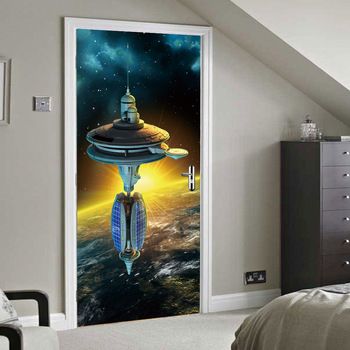 3D Print Space Ship Poster PVC Waterproof Entire Door Sticker Creative Stickers Door Wall Sticker DIY Mural Bedroom Home Decor
