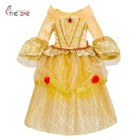 Girls Belle Cosplay Costume Children 5 Layers Princess Dresses Kids Flare Sleeve Lace Layered Tutu Dress