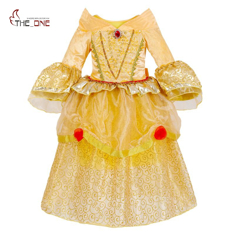 MUABABY Girls Belle Cosplay Costume Children 5 Layers Princess Dresses Kids Flare Sleeve Lace Layered Tutu Dress Girl Ballgown christmas cosplay costume lace up velvet cami dress