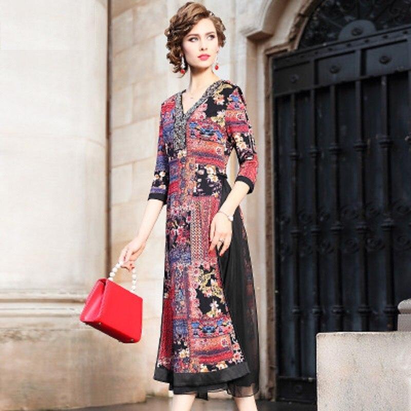 V 2018 De Partie Rome Floral Rouge Perles Hiver Femmes Qualité Robes Robe Nouvelle Supérieure Printemps Longue Vintage Noël Impression Cou 7wqxFzSw