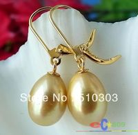 REAL 13MM Champagne RICE FW PEARL DANGLE EARRING 14K