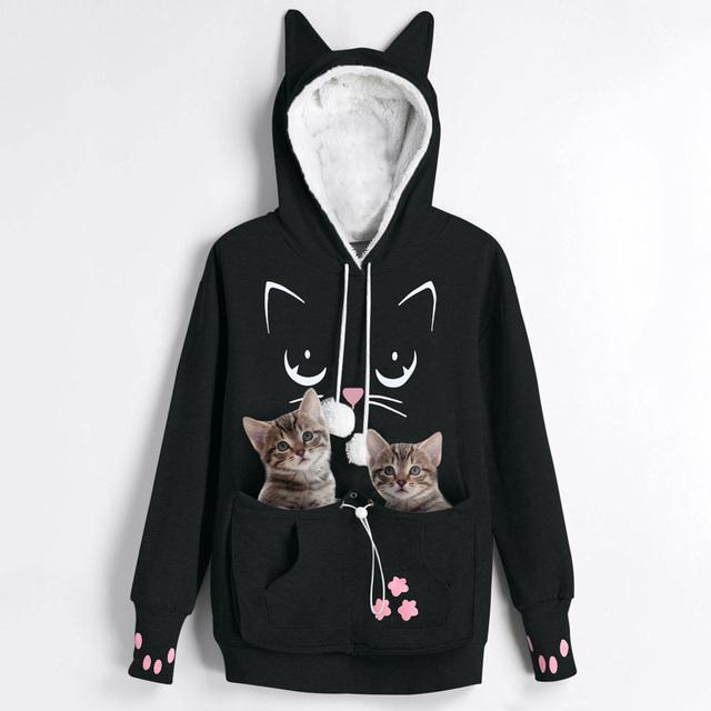 Causal Cat Lovers Hoodie Kangaroo