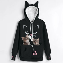 New Arrival Cat Lovers Hoodie Kangaroo Dog Pet Paw Emboridery Pullovers Cuddle Pouch Sweatshirt Pocket Animal Ear Hooded(China)