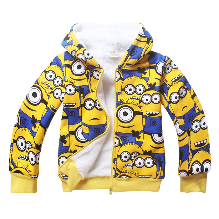 2017 Winter Children Jackets Cotton Boys Jacket Fleece Girl Coat Minions Kids Clothes Hooded Baby Outerwear & Coats for Girls 2017 winter baby coat kids warm cotton outerwear coats baby clothes infants children outdoors sleeping bag zl910