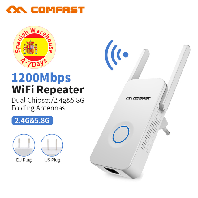 Powerful Dual Band 1200Mbps WiFi Extender Internet Signal Booster Wireless Repeater 2.4GHz 5GHz Wi Fi Range Extender Antenna