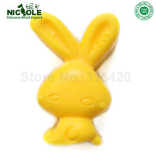 Rabbit Silicone Molds Handmade Soap Mold for Easter Kids Polymer Clay Mould Food Grade Silicone Nicole R0105(China)
