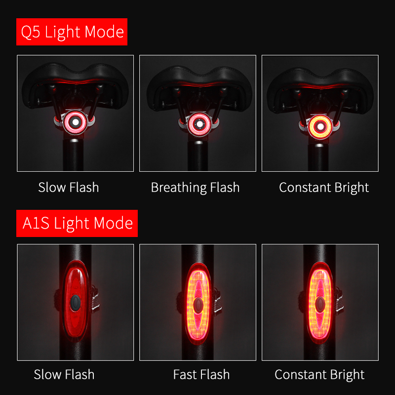 Купить с кэшбэком Smart Taillight For Bicycle AUTO ON/OFF Brake Bike Bicycle Light USB Rechargeable LED Cycling Lamp Flashlight Bicycle Rear Light