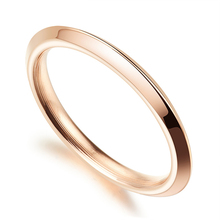 Fashion Simple Rose Gold Ring High Polish Round Initial Rings for Woman Girls Luxury Brand Women Jewelry Stainless Steel Jewelry
