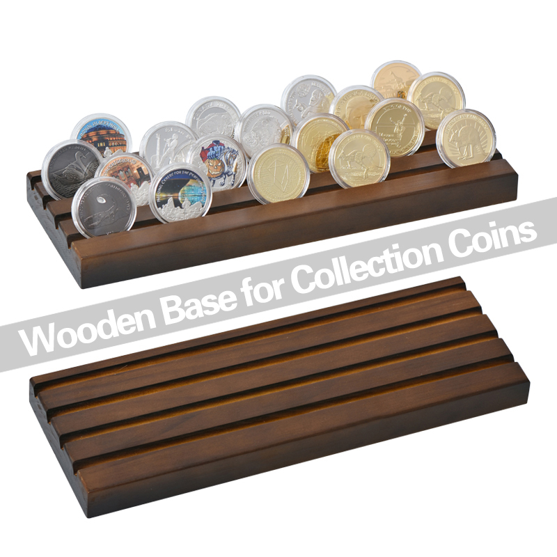 WR Quality Decorative Wood Shelf Gold Coin Holder for Replica Coin Album Collectibles Storage Shelf Birthday Gift Coin Box