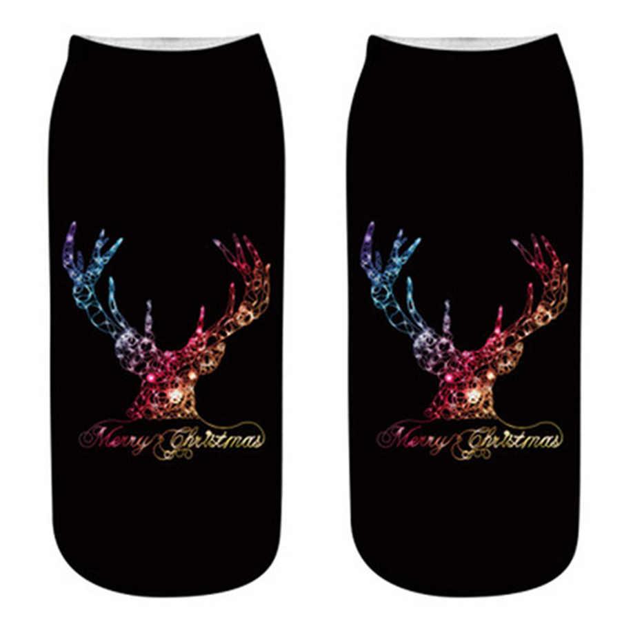 快適なクリスマス靴下ソフト靴下スリッパショートソックス印刷アンクルソックスクリスマス Meias 絶妙な通気性 Soxs 弾性 Hocoks