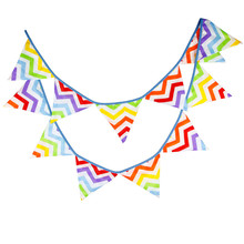 12 Flags 3.2m Rainbow Wave Ripple Cotton Fabric Bunting Pennant Banner Garland Baby Shower/Outdoor DIY Home Decoration