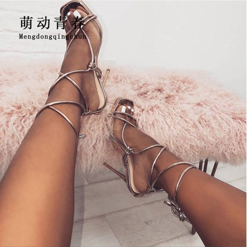 024576332fc05 Fashion Women Pumps 2019 Sexy Cross Tied Ankle Strap High Heels Sandals  Peep Toe Lace Up Summer Women Party Pumps Sandalias