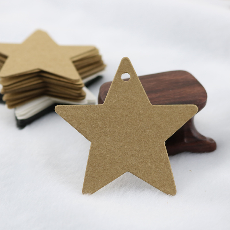 100PC DIY Black Star Kraft Paper Label Price Tags Wedding Christmas Halloween Party Favor Gift Card Luggage Tags Packaging Label