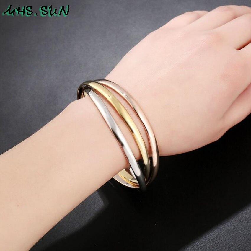 1-21PCLot Fashion Design Women 3 Layers Bangle Bracelets For Girls Exaggerated European All-Match Jewelry Female Bangle