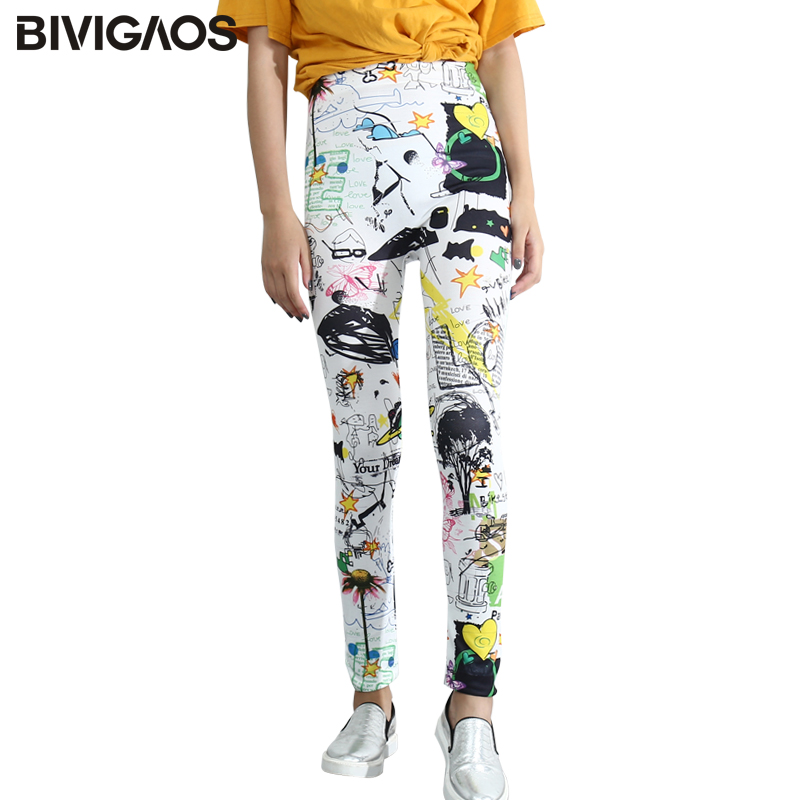 BIVIGAOS Womens Colorful Graffiti Sunflower Printed   Leggings   Punk Rock White   Legging   Pants Gothic Elastic Workout   Leggings   Women
