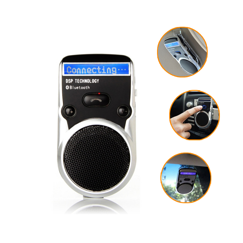 Solar Powered Speakerphone Wireless Bluetooth Handsfree LCD display Car Kit For Mobile Phone Hands Free Car For Iphone Android bq638 2 in 1 wireless bluetooth 4 1 headsets car charger in car headphone car kit earphone hands free calling for iphone android
