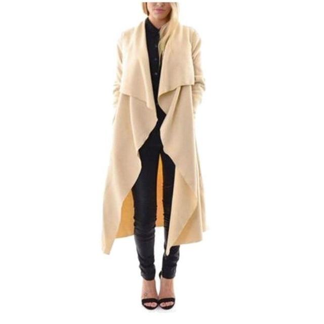 Мода Осень Женская Мода Открыть Стежка Пальто Плюс Размер Тонкий Длинный Траншеи Ветровка Твердые Пиджаки Пальто