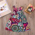 Frete Grátis Vestidos da menina Do Bebê Meninas Infantil Algodão Sem Mangas Vestido de Verão do bebê vestido Estampado + Embroideryatst 2-8 anos