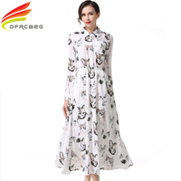 New Arrival 2017 Spring Print Cat Vinatage Long Dresses Maxi Long Sleeve Evening Party Chiffon Dress