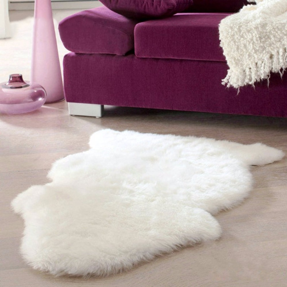 Lovely 60x40cm Super Soft Faux Sheepskin Washable Carpet Warm Hairy Seat Pad Fluffy Rugs Faux Fur Mats For Floor Chairs Sofas Cushions Home Textile