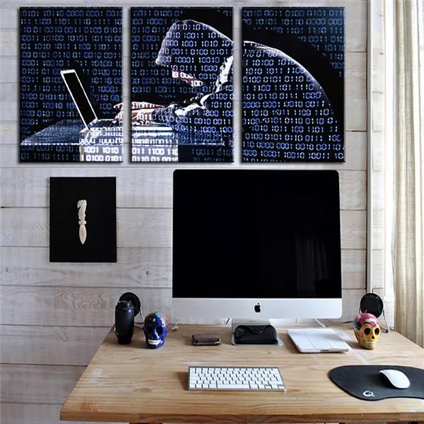 3 paneles lienzo pintura Decoración para el hogar Oficina ordenador ...