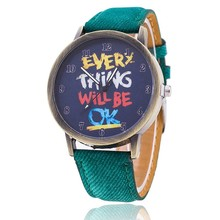 Vintage Jeans Watch For Women Leather Everything Will Be OK