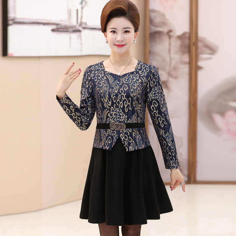 73e62c63de05a 2018 middle-aged women's dress middle-aged mother long-sleeved dress 40-