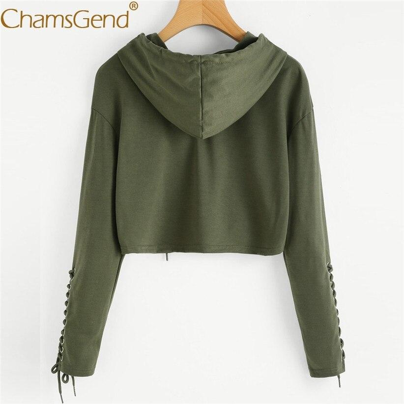 Spring Casual Long Sleeve Sweatshirt For Women Girls Lace-up Solid Hoodies Sweatshirts Woman Pullover Crop Top Streetwear 90117