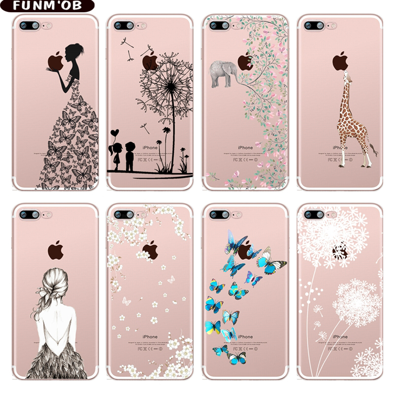 FUNMOB Elephant Butterfly Dandelion Patterned Soft Silicone TPU Phone Case Cover For iphone 7 8 6 6s Plus 5 5s SE X Coque Capa