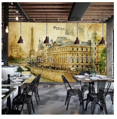 Free shipping custom 3D mural retro nostalgia European buildings in Paris Coffee hall the television background wall wallpaper free shipping custom 3d mural retro european buildings in paris coffee hall the television background wall wallpaper