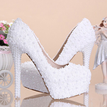 White Lace Wedding Dress Shoes High-heeled Bridal Shoes with Pearls 4 Inches heel Party Prom Shoes Ladies Wedding Shoe